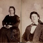 Mrs. French with a child ghost (left), and an image of Herrod with a single ghost (right). William Mumler