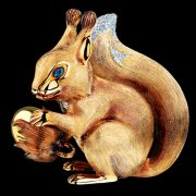 Squirrel sculpture. Diamonds, tsavorites, yellow gold