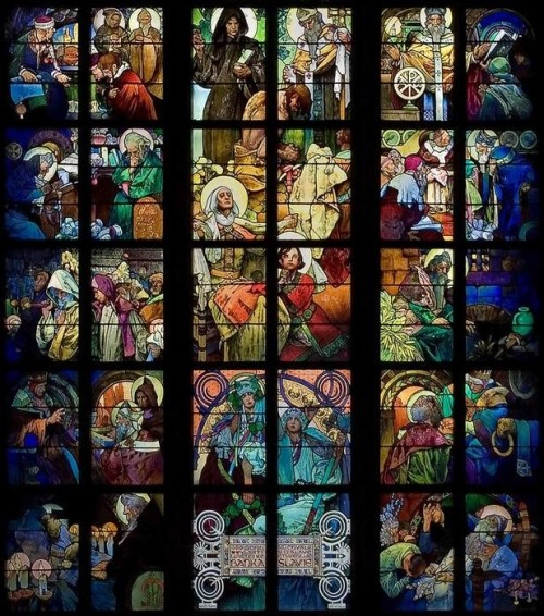 Stained glass windows in the cathedral of St. Vitus, Roman Catholic cathedral in Prague