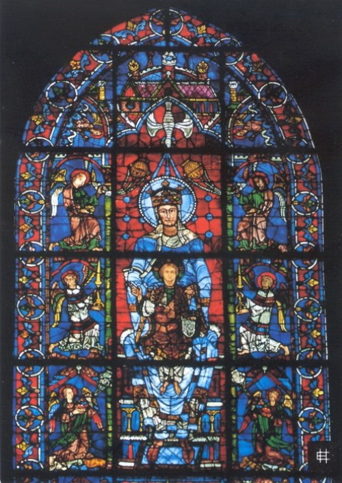 Stained glass of the Cathedral of Our Lady of Chartres, located in Chartres, France. 1194-1225