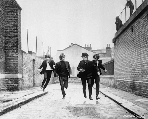 The Beatles in Scene from A Hard Day's Night