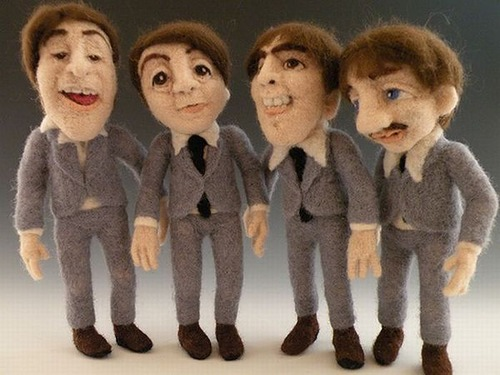 Needle felted celebrities by Kay Petal