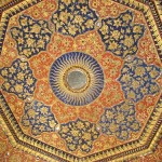 The ceiling of Harminder Sahib is made with gold and precious stones