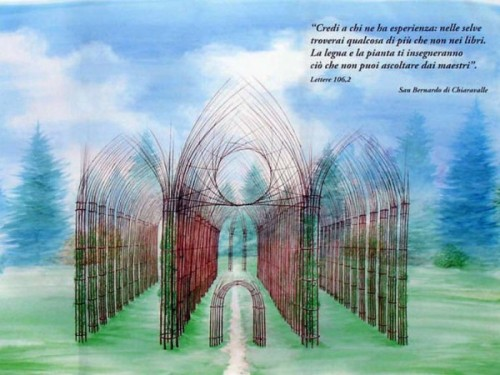 The growing temple Plant Cathedral Arte Sella, project by Italian artist Giuliano Mauri