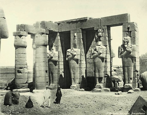 Thebes, the Ramesseum, the statue of Osiris. Egypt in retro photographs of 1870