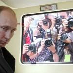 Tired from paparazzi Vladimir Putin