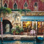 At night, Venice in painting by Cao Yong