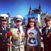 Victory Day, 9 May, Maria in a t-shirt with the image of her grandad, general