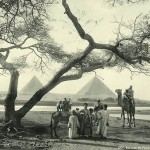 View of the pyramids of Giza. Egypt in retro photographs of 1870