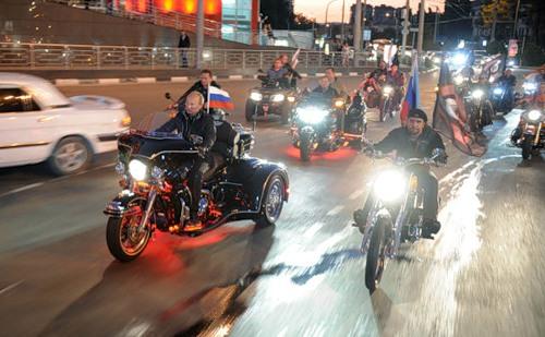 Vladimir Putin as a cool biker
