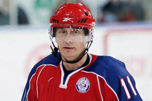 Vladimir Putin as an ice hockey player