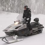 Driving Snowmobile