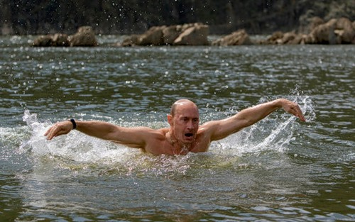 Vladimir Putin swimming