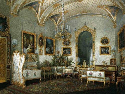 White lounge of Empress Alexandra Feodorovna. Hermitage. Artist Eduard Hau