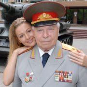 With her grandad, general