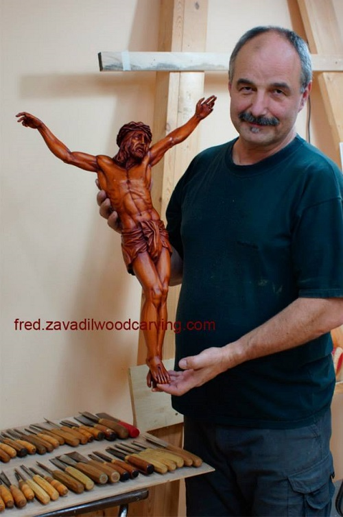 Wood carving by Canadian artist Fred Zavadil
