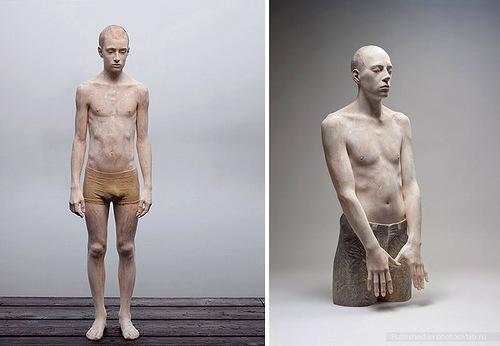 Wooden sculptures by Italian artist Bruno Walpoth