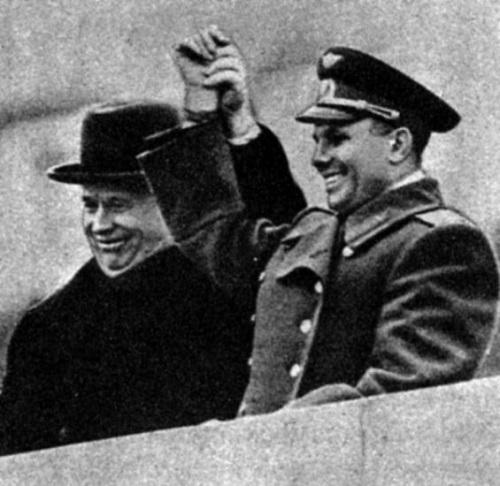 Yuri Gagarin and Nikita Khrushchev