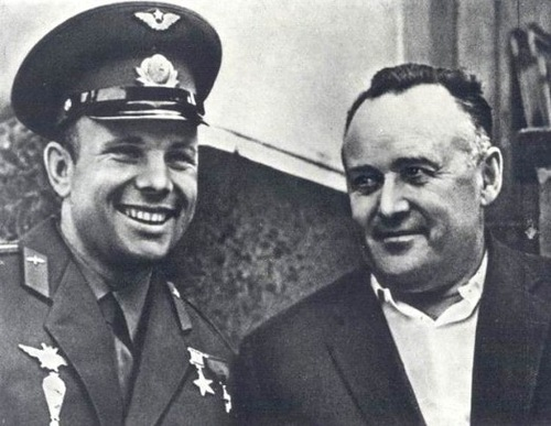 Yury Gagarin and Sergey Korolev