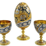 Easter egg transformated into two wine cups. Zlatoust art of steel engraving