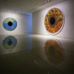 Art exhibition Eyes as windows to the world. Oil painting by British artist Marc Quinn