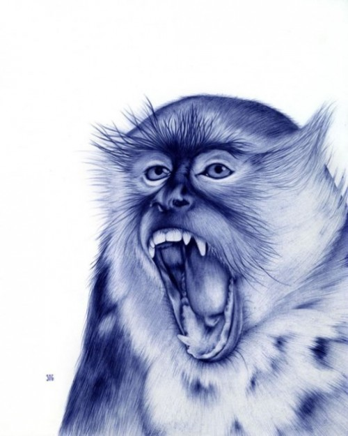 Ballpoint pen drawing by Sarah Esteje, French artist