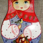 Matryoshka. Traditional Russian folk painting on wood by Anna Selezneva