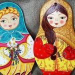 "Cutting boards ""Matryoshka"", folk painting on wood by Anna Selezneva"
