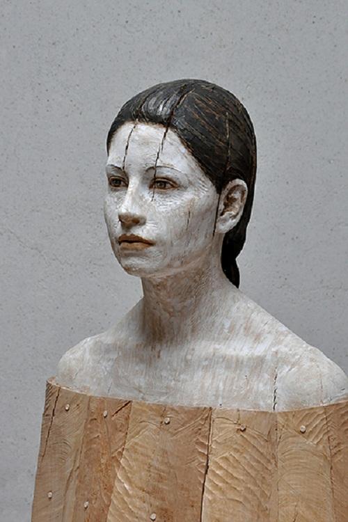 Julia, hyperrealistic wooden sculpture