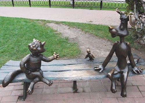 monument to the main characters of a popular russian cartoon