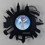World famous buildings. Wall clocks made from old vinyl records by Estonian designer Pavel Sidorenko