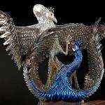 Made of fake fingernails, barrettes, nail polish, false eyelashes, and jewelry Laurel Roth's peacocks