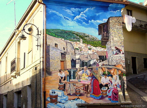 Painted by Italian artist Mauro Angiargiu walls in Sardinia