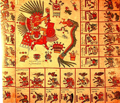 Ancient Calendars earliest artworks. The original page 13 of the Codex Borbonicus, showing the 13th trecena of the Aztec sacred calendar