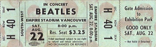 $ 3.25 ticket for the Beatles