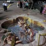 3D Pavement Illusion Art by American artist Kurt Wenner