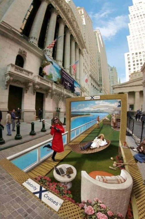 3D Pavement Art Illusion by Kurt Wenner