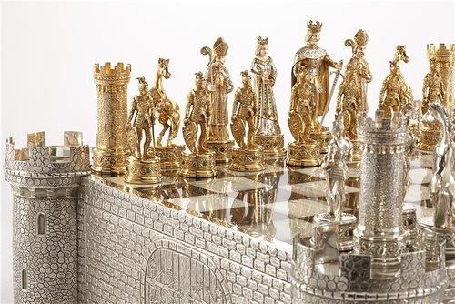 Chess art-science-sport. A German Jewel Encrusted Silver and bone chess set. Unknown maker, Hannau. Chess art-science-sport