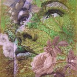 Female portrait on the background of nature. Painting by Carrie Vielle