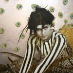 Oil, gold and silver leaf on linen. Bird of Paradise 2012 Painting by American artist Brad Kunkle