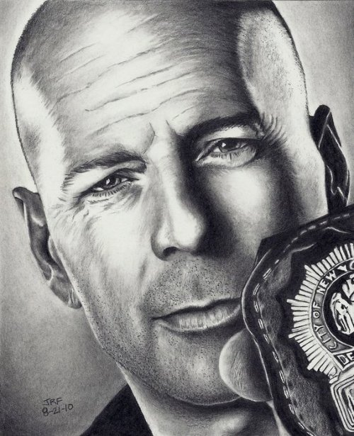 Bruce Willis Cop Out. Realistic pencil drawings by Rick Fortson