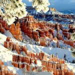 Covered with snow hills of Bryce Canyon