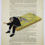 Caught in a mouse trap. Painting on antique French magazines pages by French artist Coco de Paris