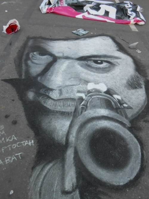 Hyperrealistic chalk drawing by Russian street artist Rustam Valeev