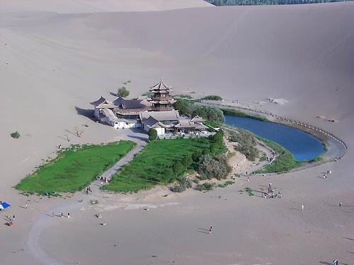 "Amazing Deserts. Oasis ""crescent"" in the Gobi Desert"