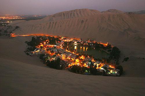 Oasis Huakachina, Peru. A small desert oasis
