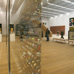 People are reflected in the installations at the Museum Brandhorst in Munich.