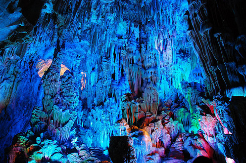 Reed Flute Cave is filled with a large number of stalactites, stalagmites and rock formations in weird and wonderful shapes