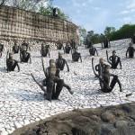 Monkey sculptures in The Rock Garden of Chandigarh in India