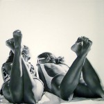 People at the sea. Hyperrealistic painting by Brazilian artist Marta Penter